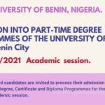 UNIVERSITY OF BENIN (UNIBEN) PART-TIME ADMISSION FORM 2021 IS ONGOING NOW